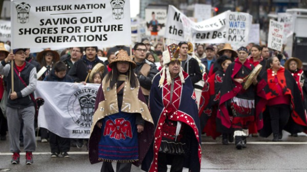 Members of the Heiltsuk Nation during a demonstration against the Northern Gateway pipeline.  Photo: The Globe and Mail.