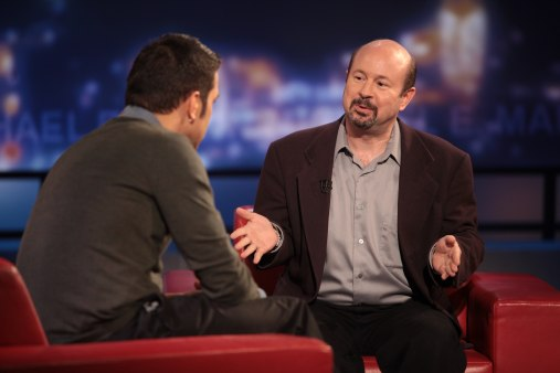 George Stroumboulopoulos (left) and Michael E. Mann (right).  Photo: CBC.