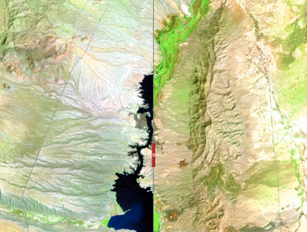 Before (left) and after (right) of the Elephant Butte Reservoir in New Mexico.  Image: screen shot from PBS.org.