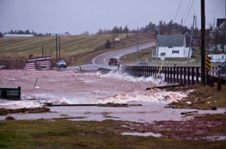 A low-lying bridge in Rustico, PEI, during a 2010 storm surge.