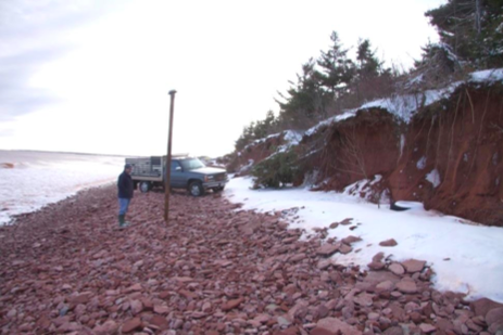 On the shore of Tignish, PEI, after the 2010 storm surge.