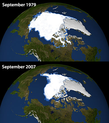 A comparison of Arctic ice extent.  Top is September 1979, bottom is September 2007.  Images: NASA.