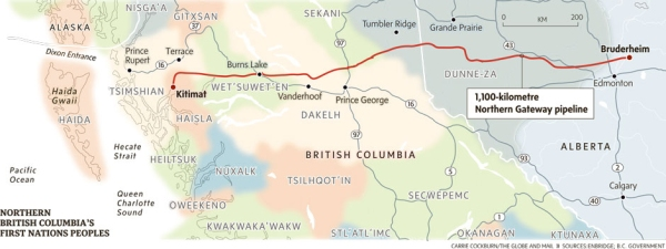 The path of the Northern Gateway pipeline