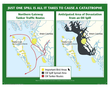 How oil would spread from a tanker spill along the coast of B.C.
