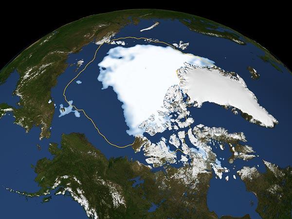 Arctic sea ice minimum in 2012.  Image: National Geographic.