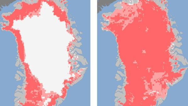 97% of Greenland melting in 2012. Image: CBC.