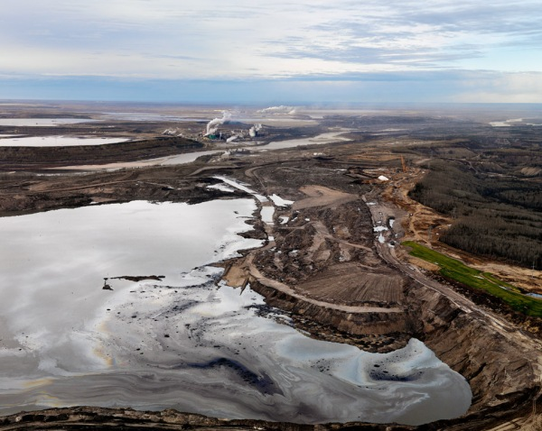 """This used to be a forest.  Now it is a """"tailings pond"""" which holds enormous quantities of water mixed a cocktail of petrochemicals."""