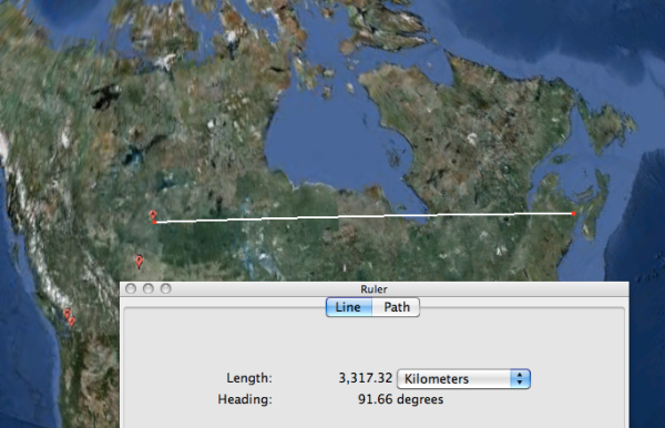 Alberta to the Maritimes, according to Google Earth.
