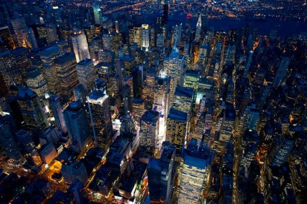 New York City at night.  Imagine how much energy they are wasting...