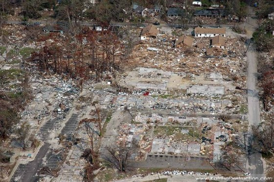 Horrific damage caused by Hurricane Katrina.  Photo: katrinadestruction.com